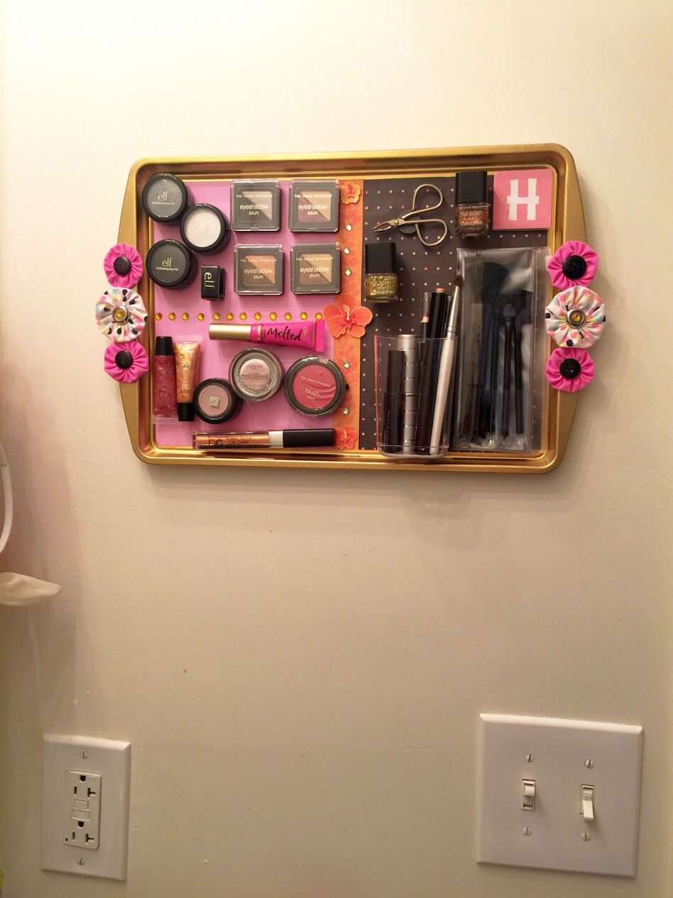 DIY Magnetic Makeup Board Buy Cookie Sheet From Walmart 88 Cents Spray Paint Gold You Can Put Embellishments And Attach Magnets Onto Your Cosmetics