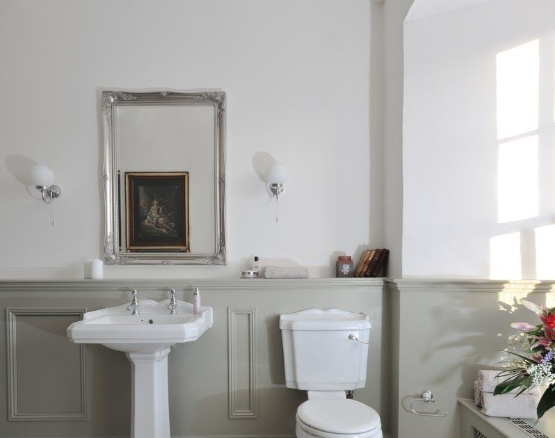 Image Result For Panelled Bathroom Ideas Grey And White Country Bathroom With Wall Panels B Country Bathroom Trendy Bathroom Designs Bathroom Wallpaper Modern