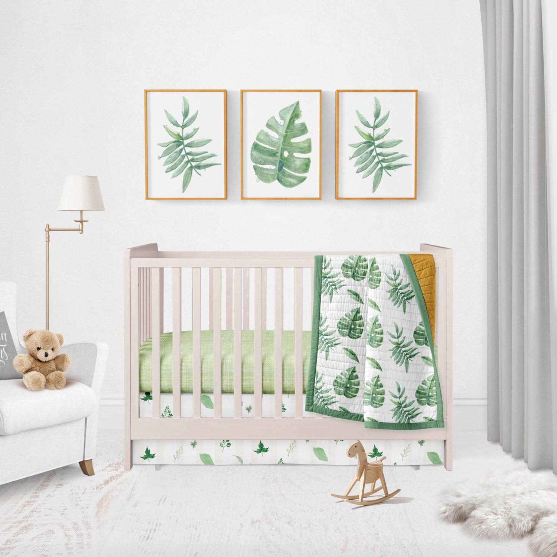 Palm Leaf Large Green Leaves Baby Bedding Gender Neutral Tropical Trendy Nursery Boho Fern Greens By Hudsonbabycompany