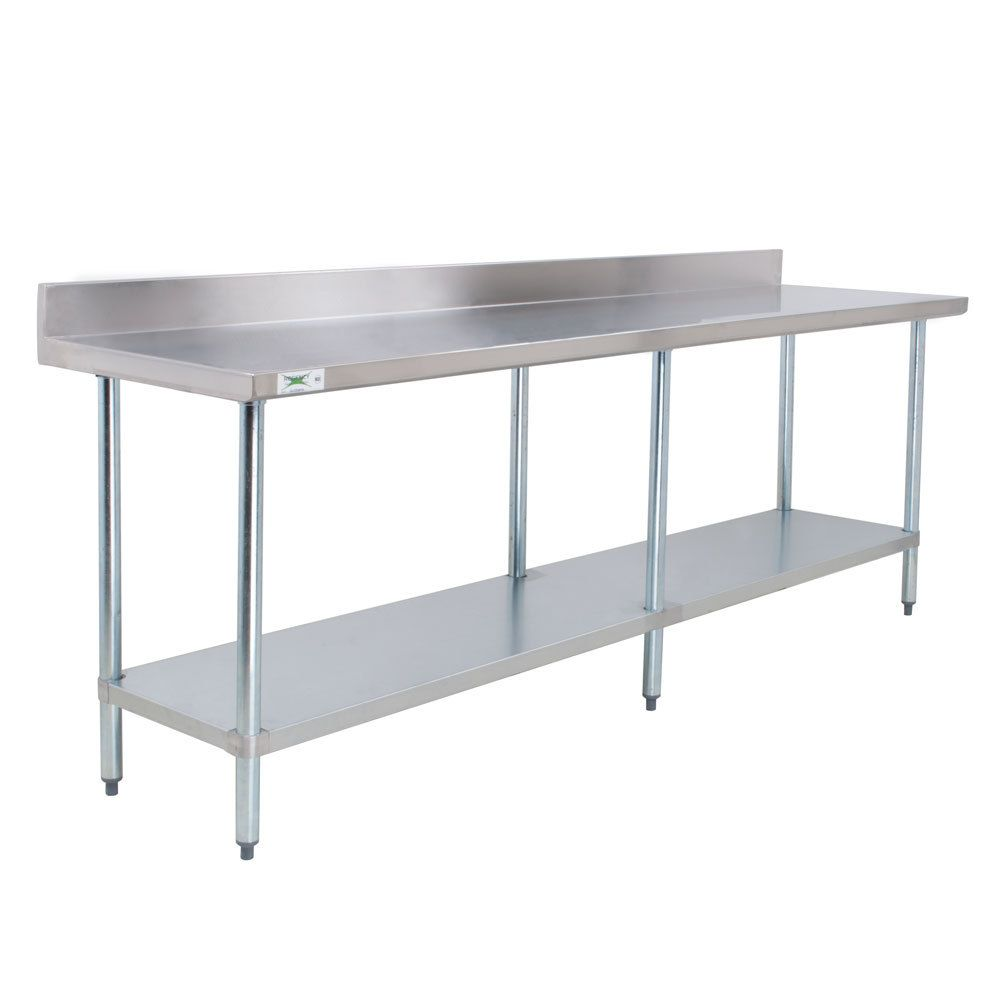 Regency 24 X 96 18 Gauge 304 Stainless Steel Commercial Work Table With 4 Backsplash And Galvanized Undershelf Stainless Steel Work Table Stainless Steel Prep Table Stainless Steel Kitchen Cabinets