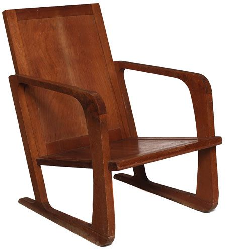 Art Deco chair, attributed to Kem Weber, manufactured by Meuller Furniture Co., Grand Rapids