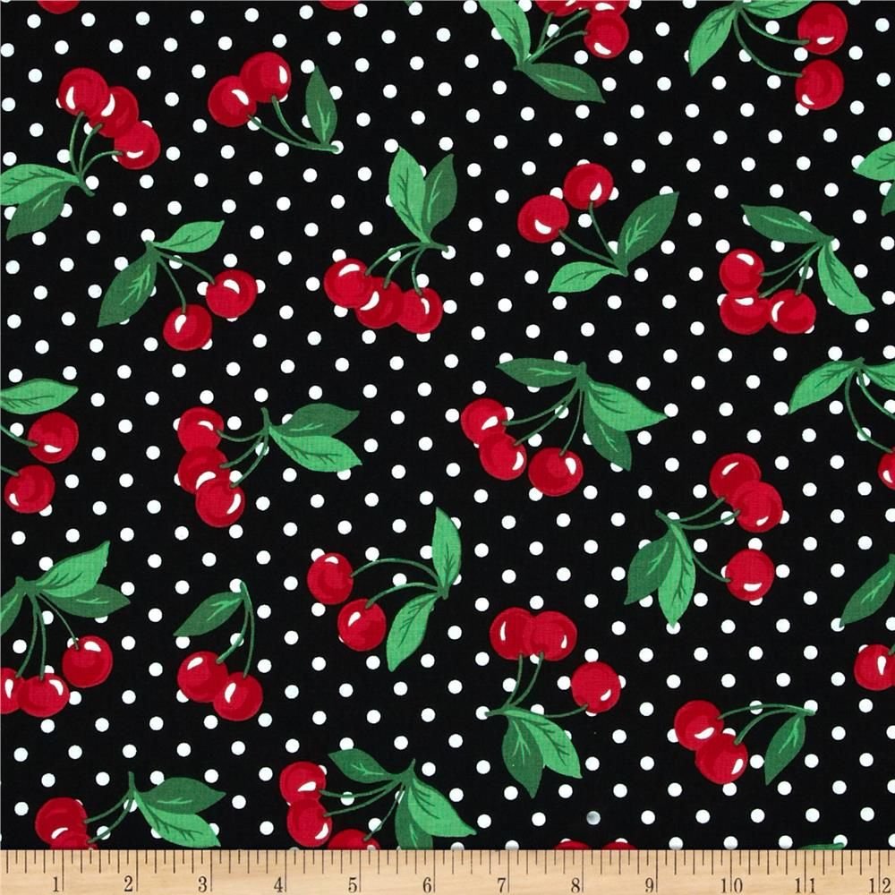 Michael Miller Cherry Dot Black from @fabricdotcom  Designed for Michael Miller, this cotton print is perfect for quilting, apparel and home decor accents. Colors include white and shades of red and green on a black background.