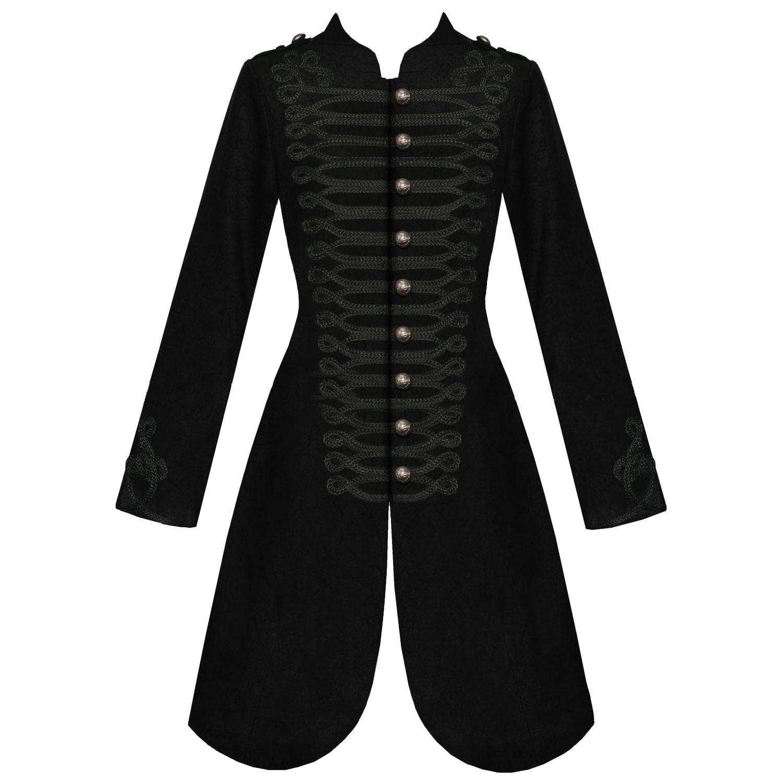 Womens ladies new black gothic steampunk military viscose coat ...