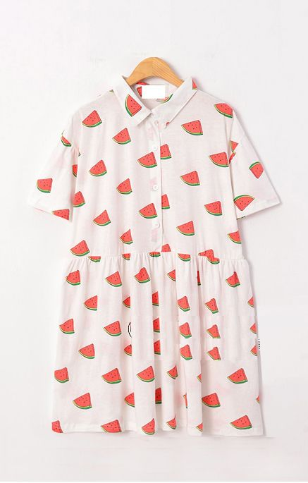 Watermelon Printing Lapel Short Sleeves Cotton Shift Dress