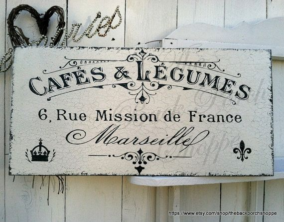 French Cafe Sign 12 X 24 French Kitchen Signs Paris Signs Marseille French Signs Cafe Sign French Kitchen