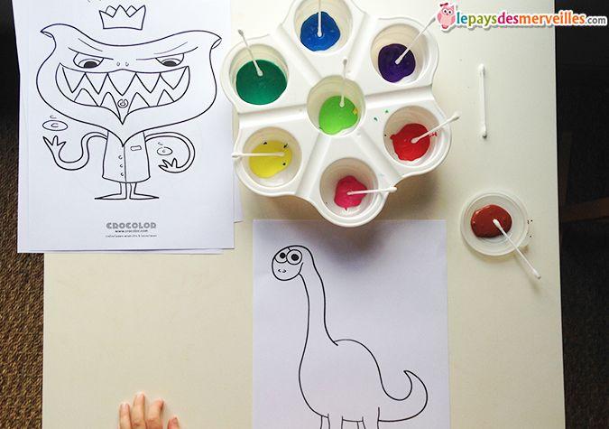 peinture au coton tige kids activities peinture coton tige activit manuelle peinture et. Black Bedroom Furniture Sets. Home Design Ideas