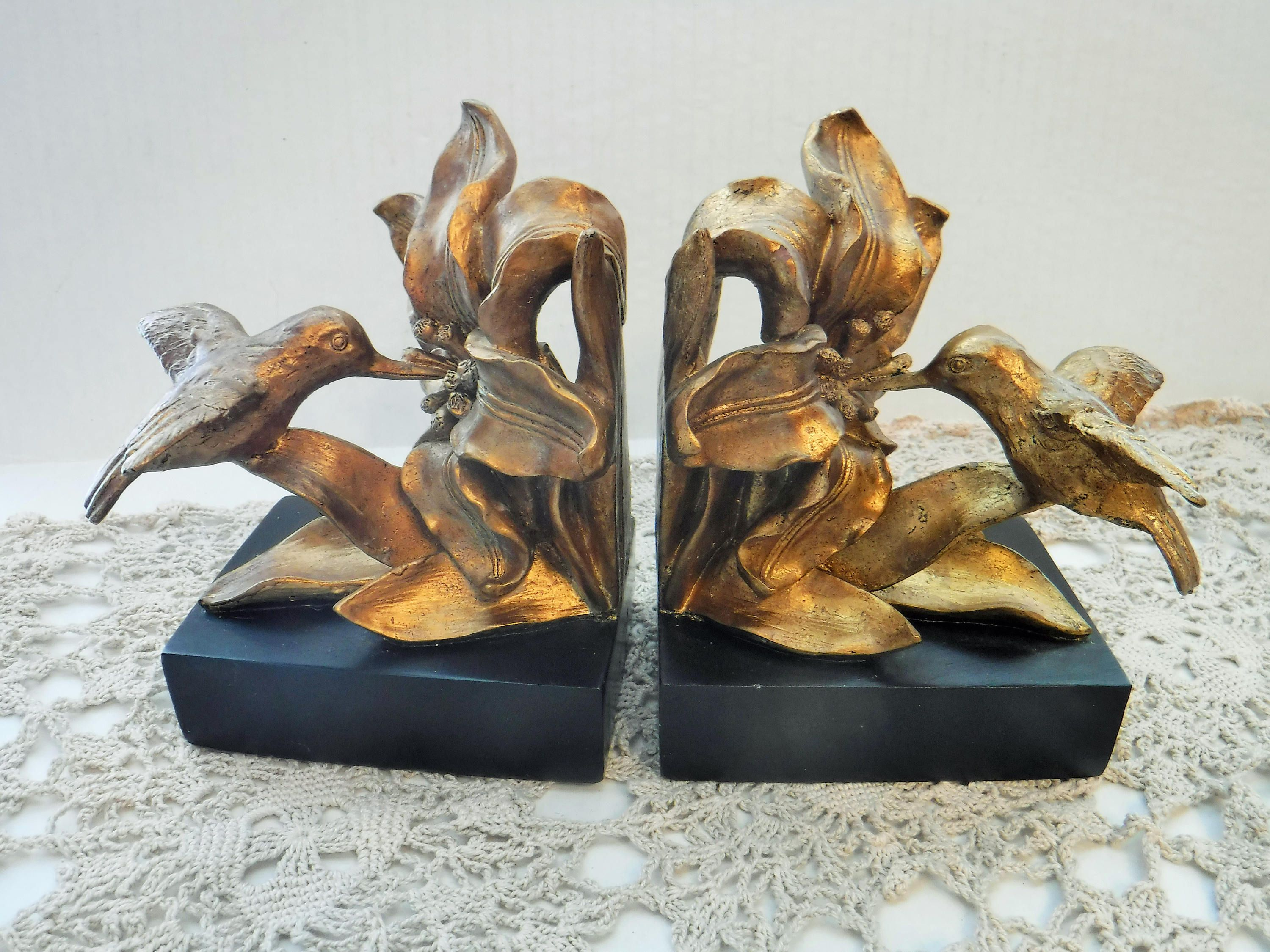 unique bookends hummingbird bookends black and gold bookends