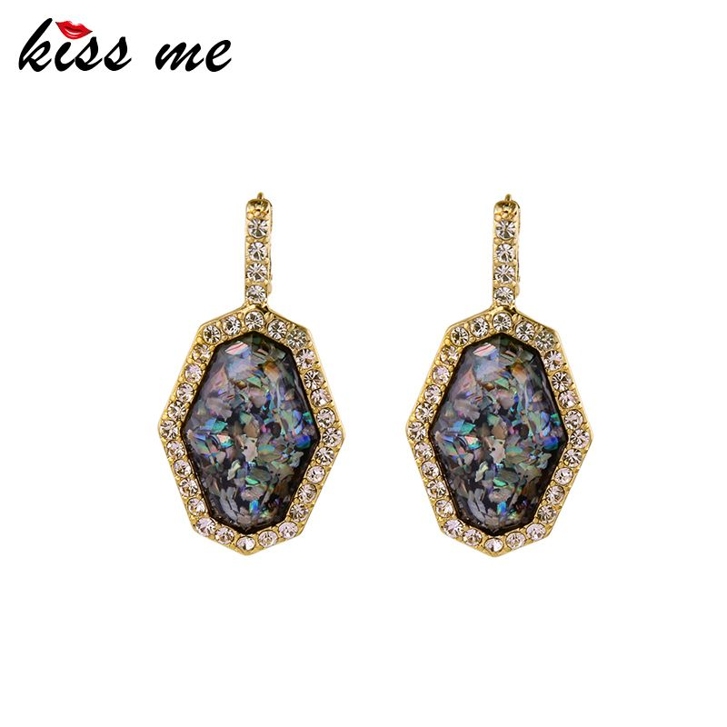 Kiss me geometrische steen oorbellen nieuwe merk india sieraden antieke gouden verzilverd vrouwen oorbellen