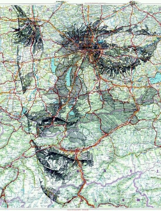 Artist Finds Human Faces In The Lines Of Maps 10 Pictures Art