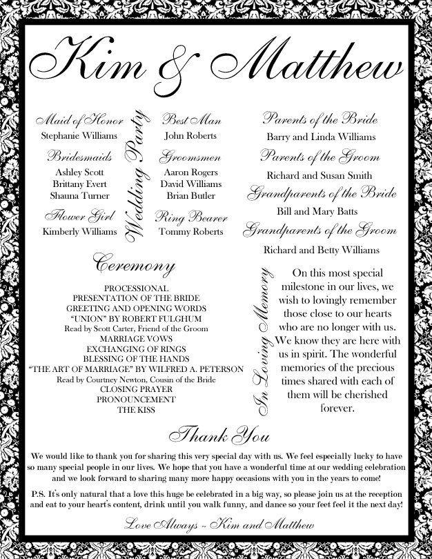 Free Printable Wedding Programs Templates | Sale - Custom