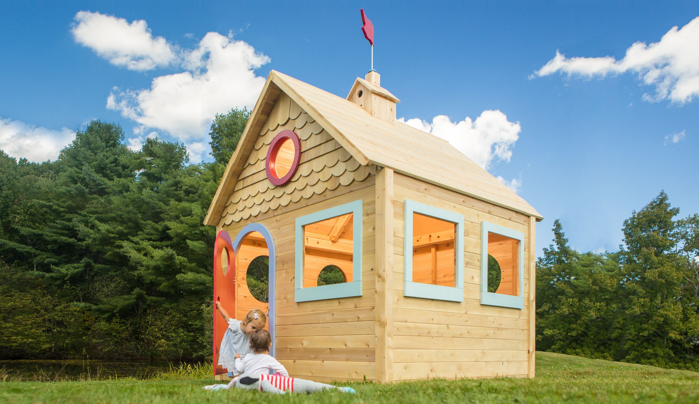 cedarworks playhouse 870 whimsical design details make us believe