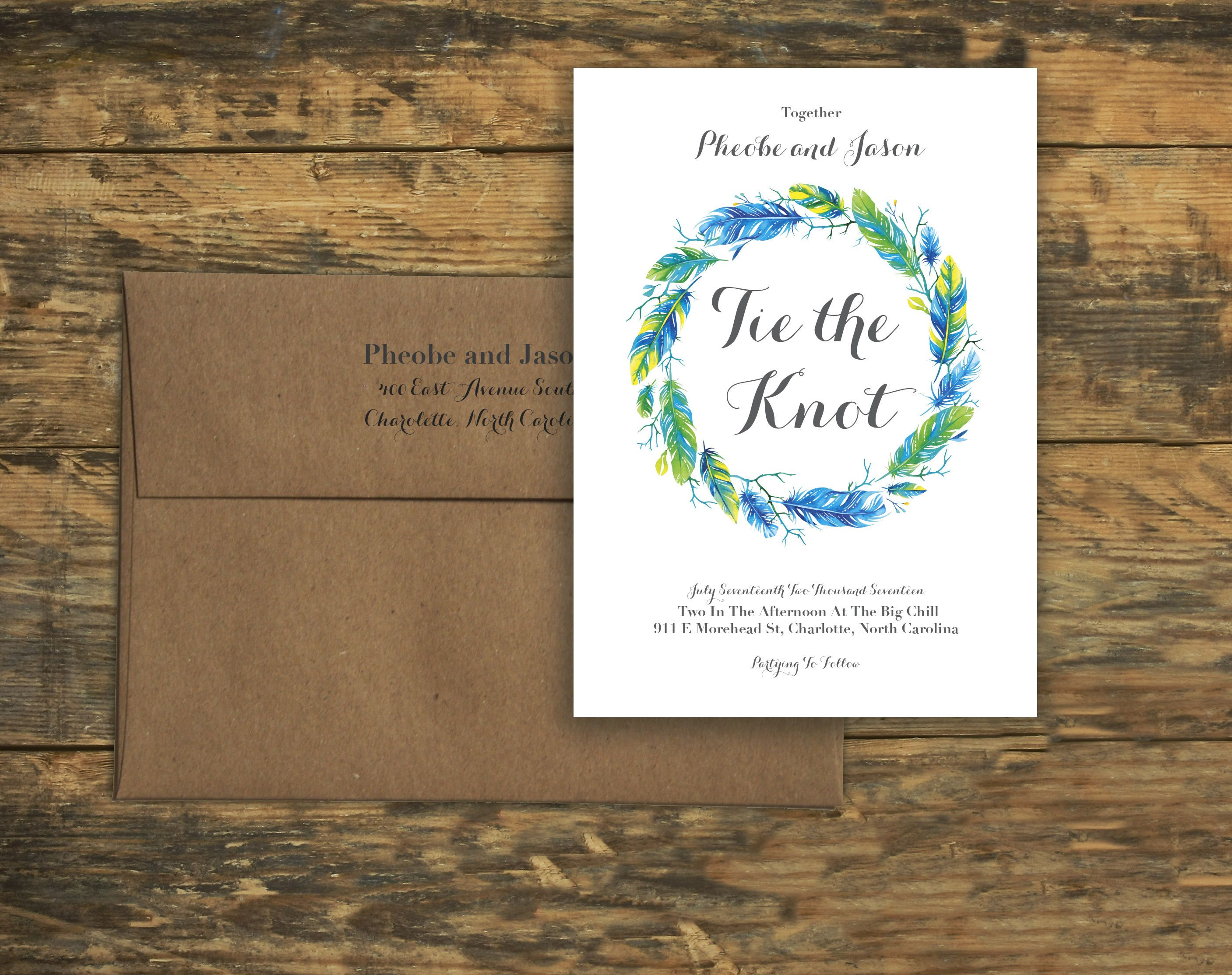 wedding invitation photo%0A Bold Blue Feathers Design Wedding Invitation Set  Tie the Knot  With  Response Card by