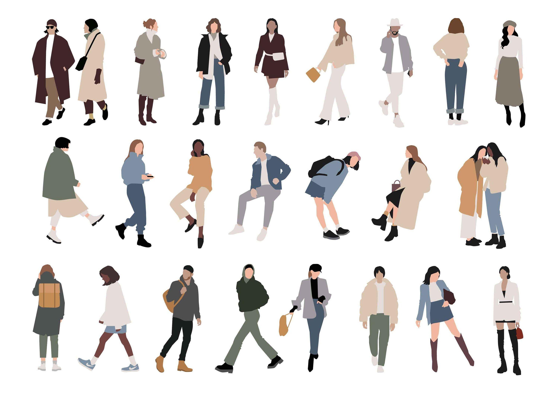 24 Flat Vector People Illustration Walking People Outdoor Etsy People Illustration People Png Walking People