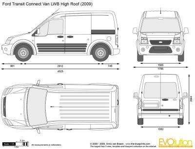 Roof Size Of Transit Connect Com Vector Drawing Ford