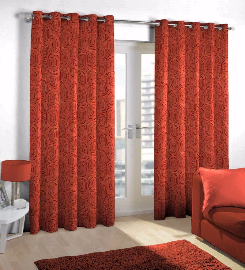 Red Viscose Polyester Eyelet Door Curtain By Skipper Curtains
