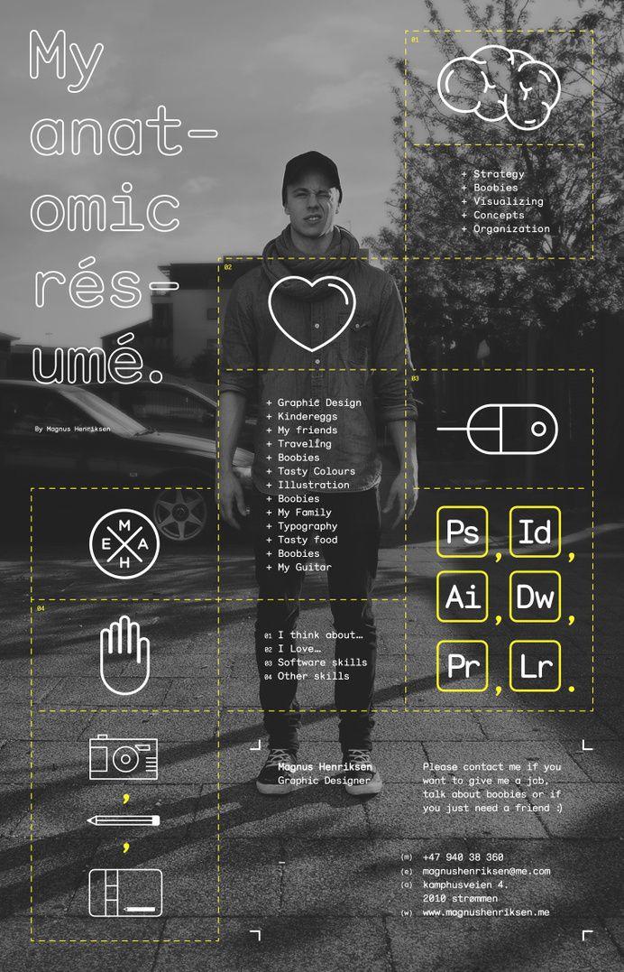 Anatomic résumé in Self Promotion la photo noir Pinterest - promotion on resume