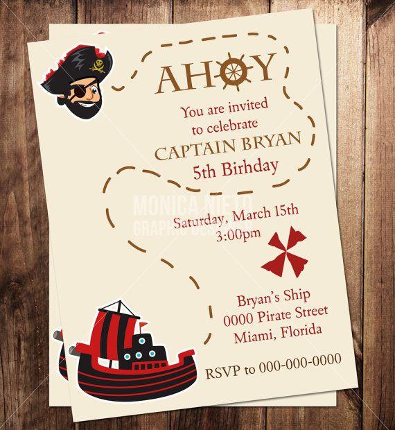 Custom Printable Pirate Party Birthday Invitation Template