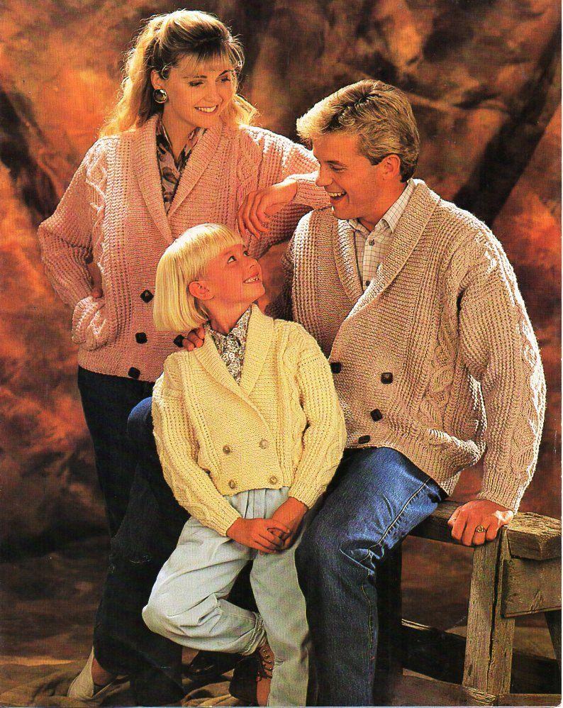 Ladies /& Men/'s Cardigans Round  Neck//Shawl Collar 28-46 ~ Aran Knitting Pattern