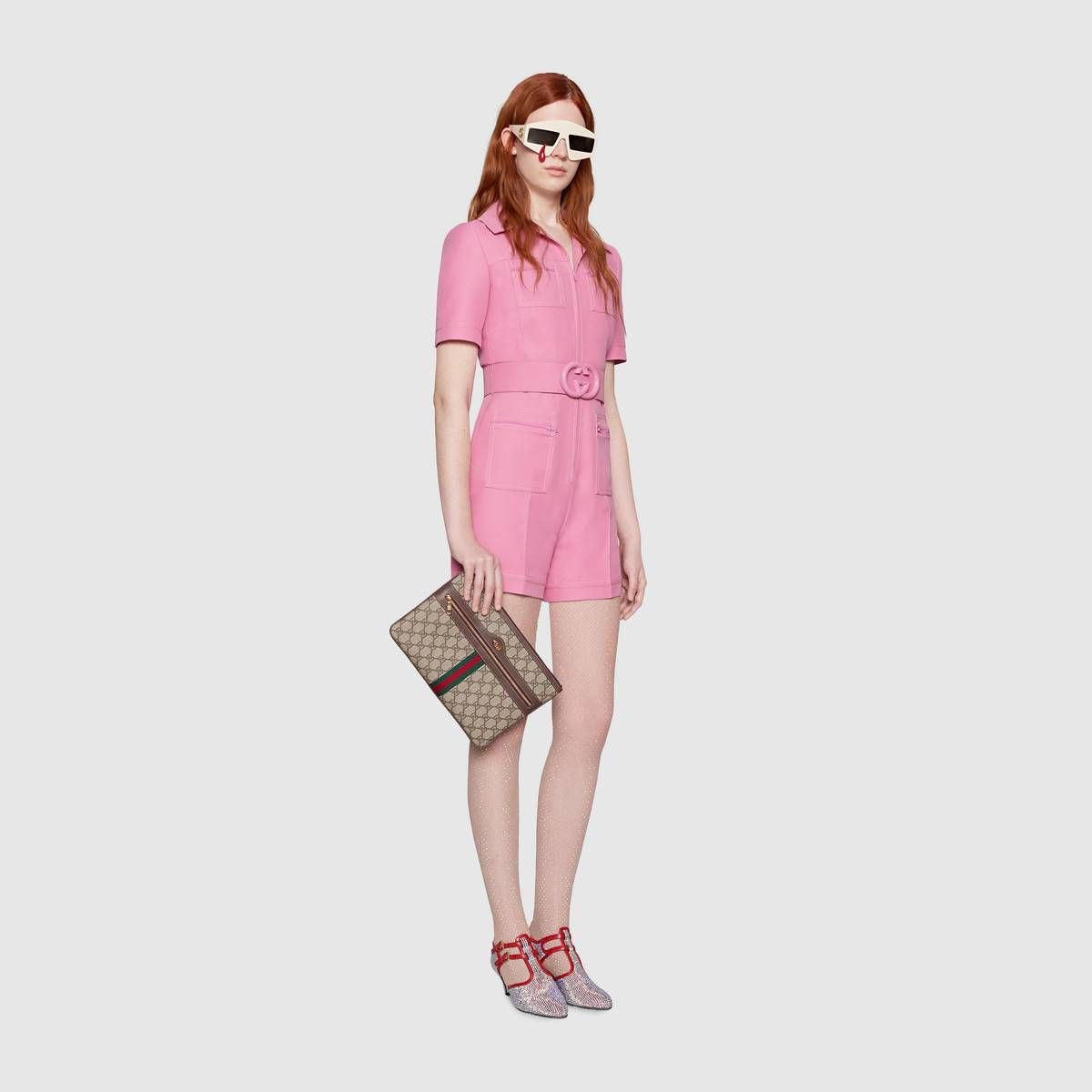 20487c6af34 Shop the Wool silk short belted jumpsuit by Gucci. In a bright shade of pink
