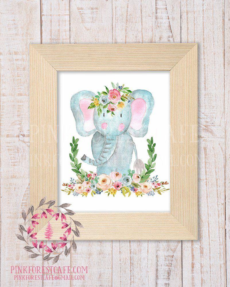 Elephant zoo boho bohemian garden floral nursery baby girl room