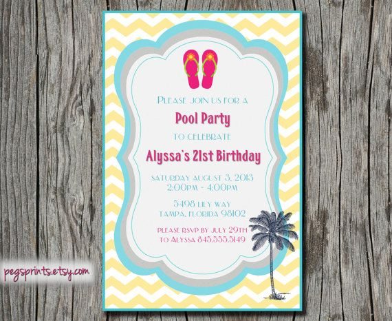 Adult Pool Party Invitation Beach Birthday By Pegsprints On Etsy 1200