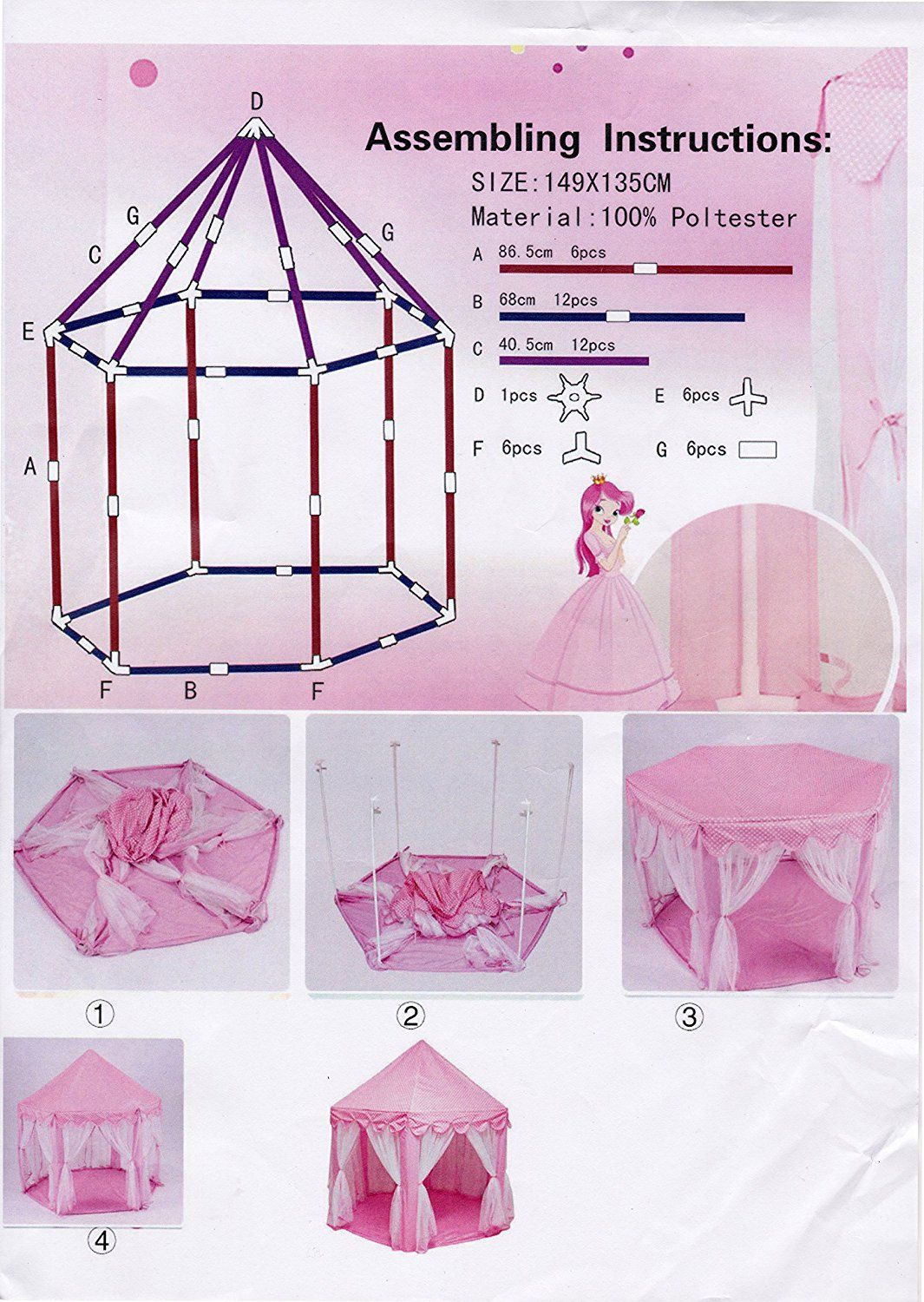 Kids Play Tent Autop Large Indoor And Outdoor Kids Play House Pink Hexagon
