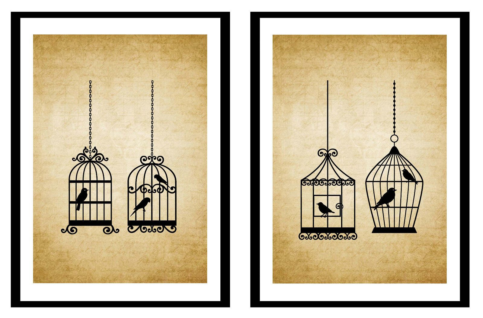 Vintage French Provincial Wall ART Prints – SET OF 2 – Vintage Bird ...