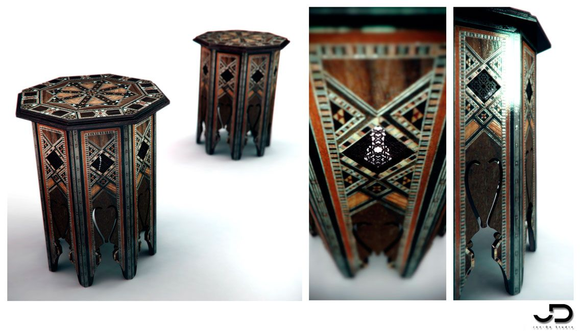 Studio Renderings Of Design Furnitures For Commercial Presentations Morocco Table