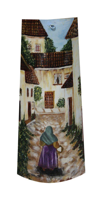 Anciana por calle asturiana teja pintada tejas pintadas artesanato em telhas pintura em - Pintar tejas de barro ...