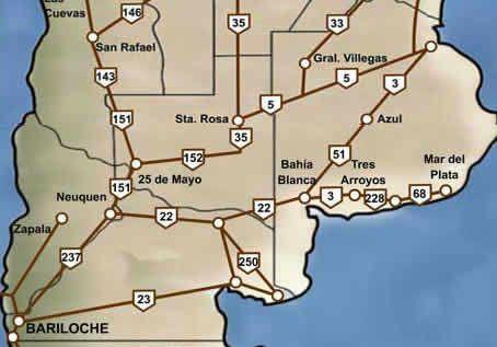 Mapa de Rutas Bariloche Patagonia Argentina