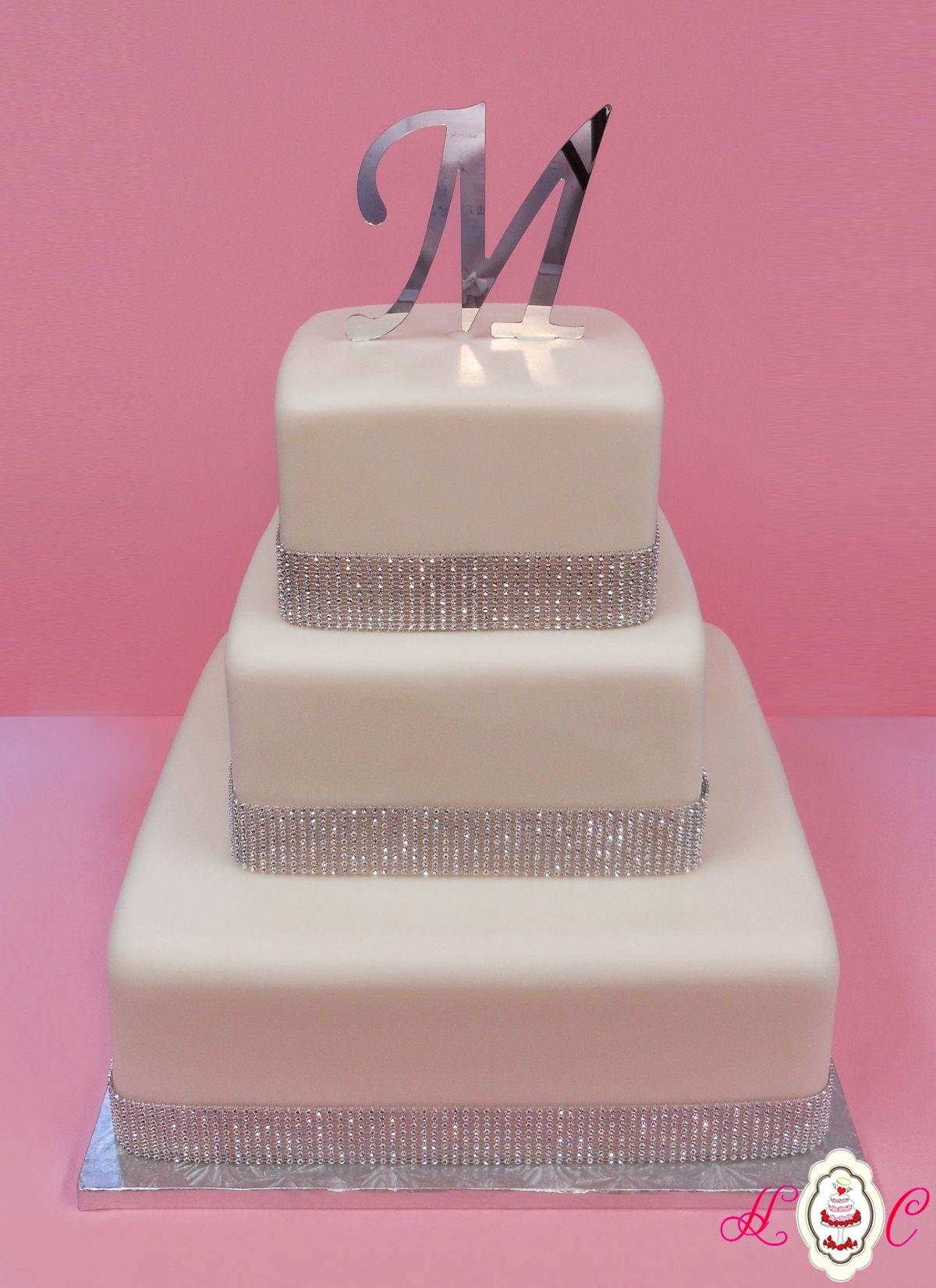 White & Silver Bling Square Wedding Cake
