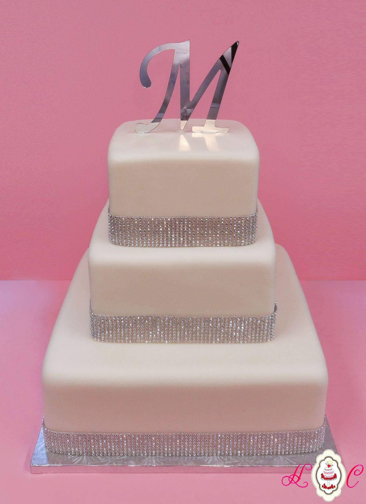 White & Silver Bling Square Wedding Cake | Wedding | Pinterest ...