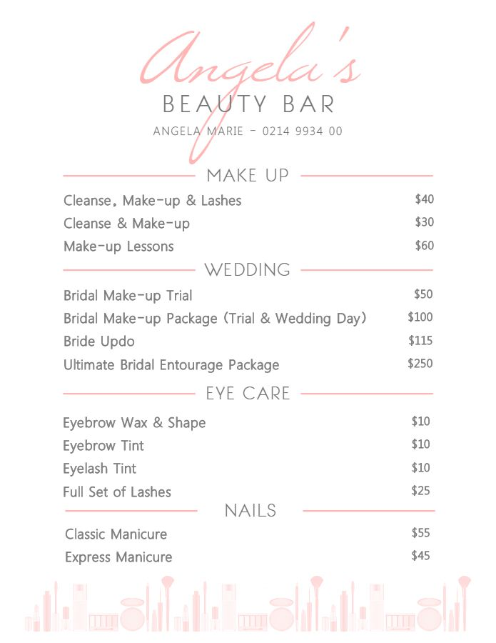 elegant white beauty parlor service price list template