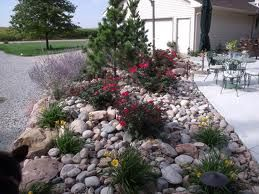 Cobble Mulch Idea For Front Entryway Landscaping With Rocks