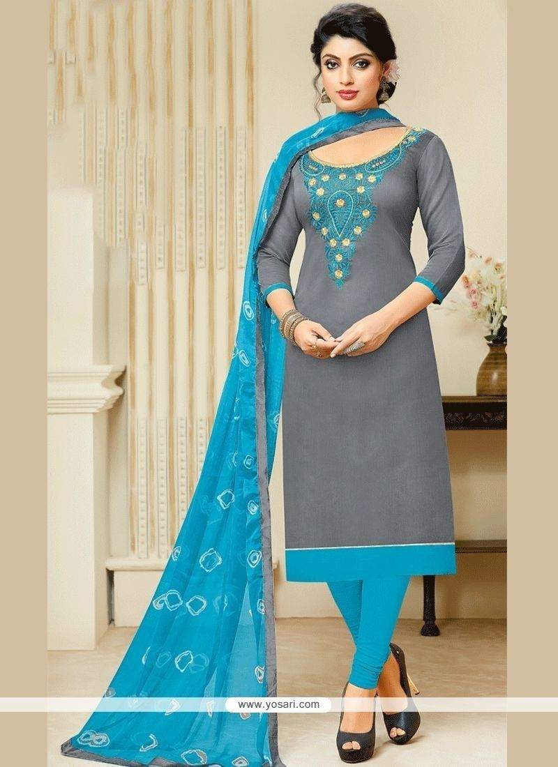 883a4285fd Princely Blue And Grey Print Work Chanderi Churidar Suit in 2019 ...