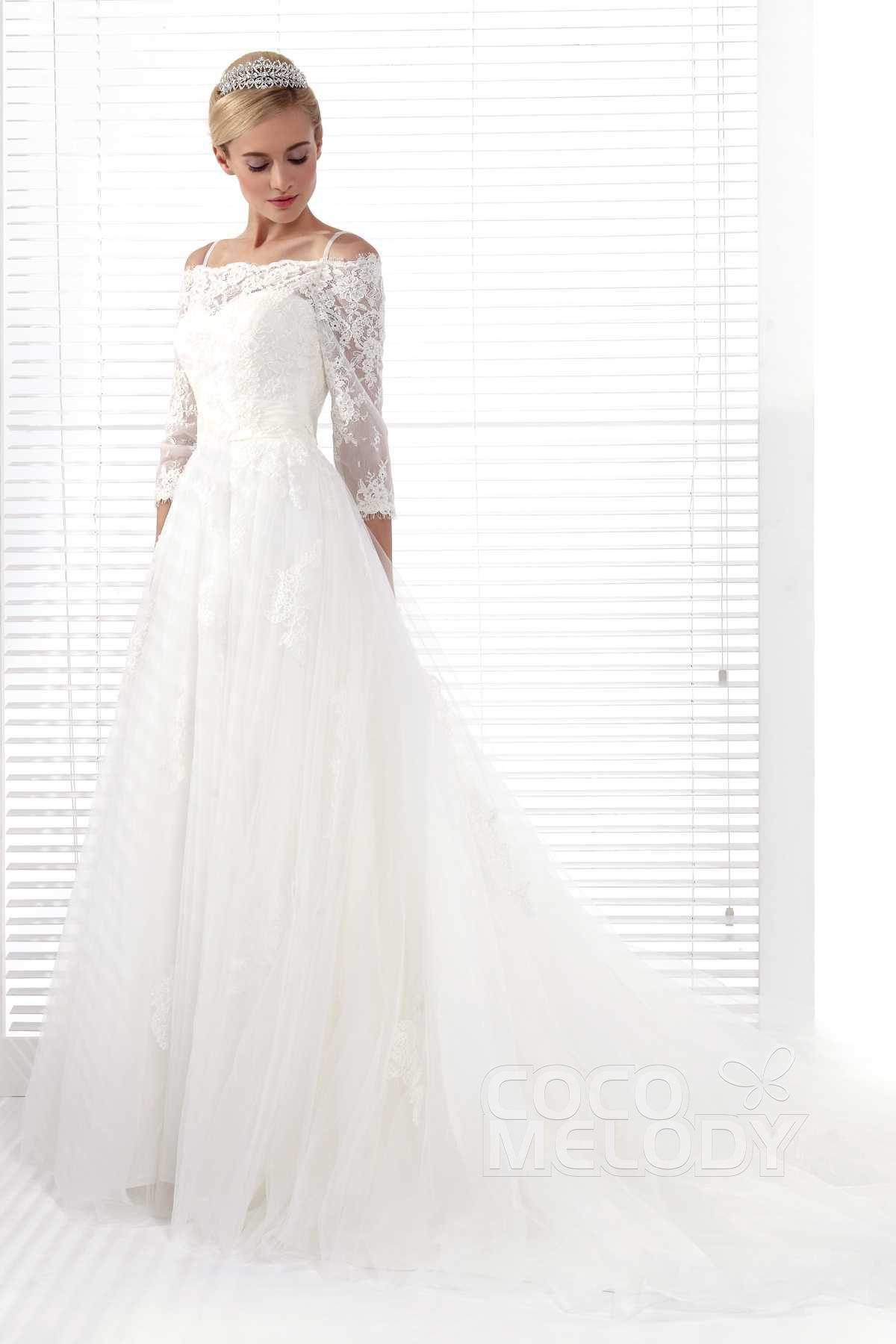 Lace strap wedding dress  Glamorous ALine Spaghetti Strap Chapel Train Tulle Wedding Dress