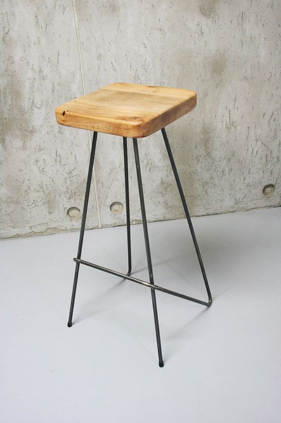 Bar Stool Kitchen Stools Counter Pure Oak And Steel Minimal Design Handcrafted By Nortre