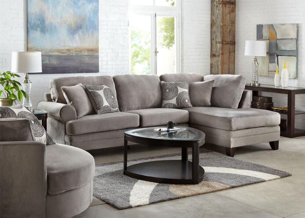 Living Room Ideas With Grey Sectionals zoey 2 pc laf sectional grey - sectionals - living room