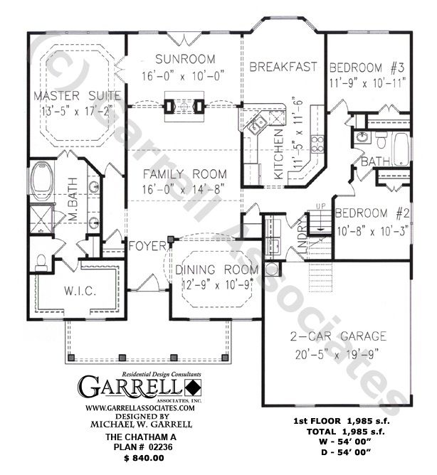 Chatham A Plan 02236 1st Floor Plan Ranch Style House Plans