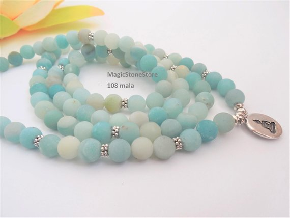 108 Mala Beads 108 Mala Necklace Amazonite Mala Buddhist Rosary