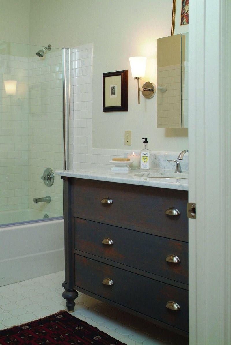 dresser bathroom vanity in a white bathroom | Store ...
