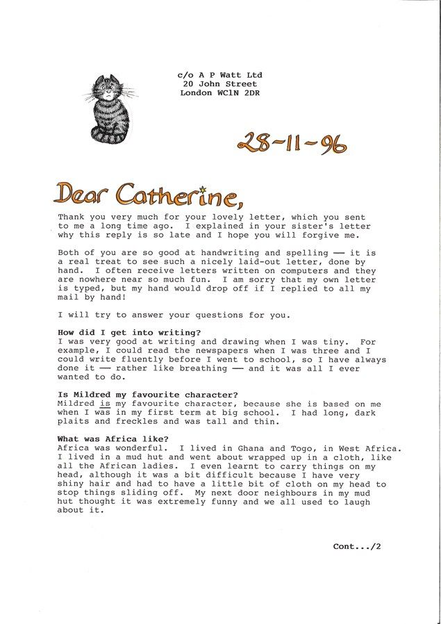 A Letter Of Note From Childrens Author Jill Murphy School Letters Of Note Jill Murphy Author