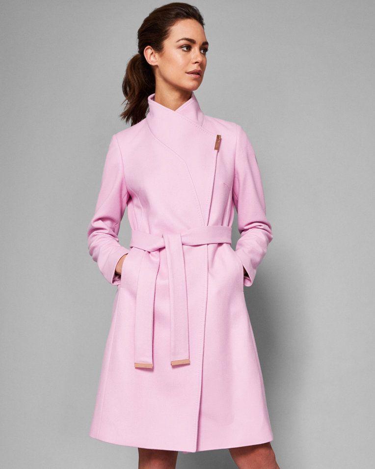 18523eba335251 Long wrap coat - Mid Pink