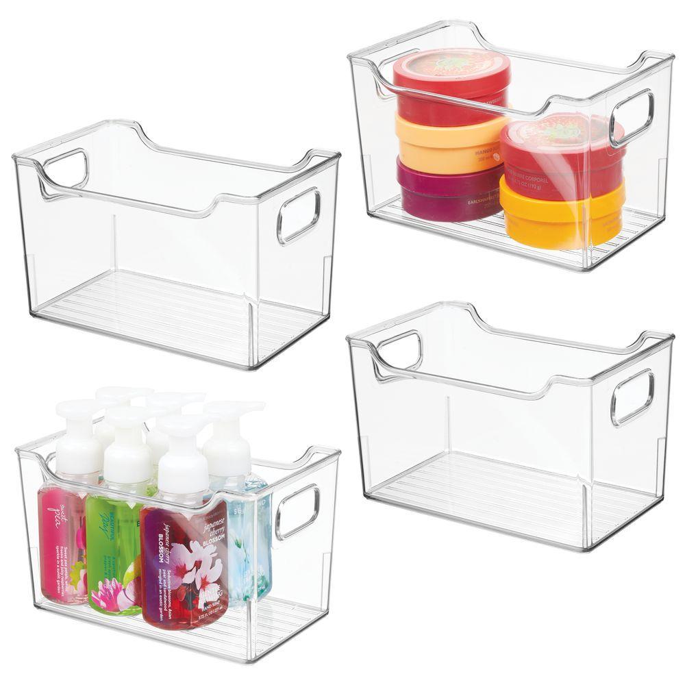 Plastic Bathroom Vanity Storage Organizer Bin 10 X 6 X 6 Bathroom Vanity Storage Storage Bins Storage Spaces