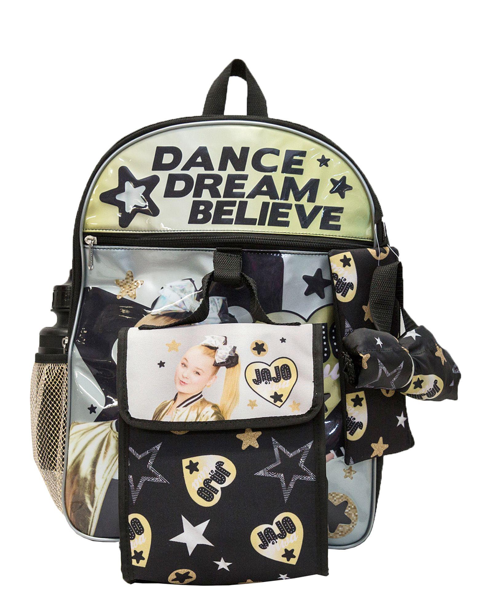 "JOJO SIWA DANCE MOMS NICKELODEON 16/"" 5-Pc Multi-Pocket Backpack Set w//Lunch Bag"