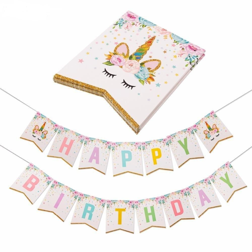 Photo of UNICORN HAPPY Birthday Party Decoration Banner | Unicorn Birthday Banner | Unicorn Party | Unicorn Party Set | Girls Birthday Party