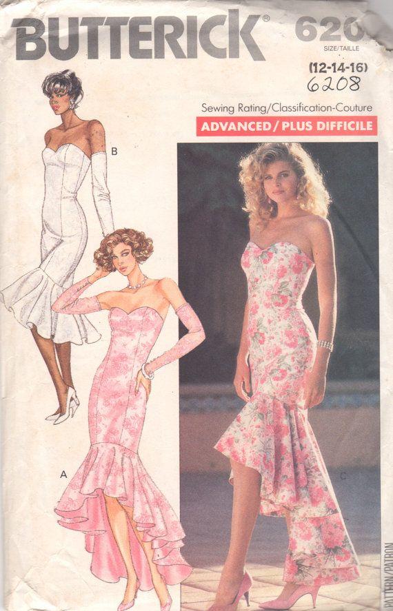 Butterick 6208 Misses Strapless Evening Dress Pattern Prom Dance ...