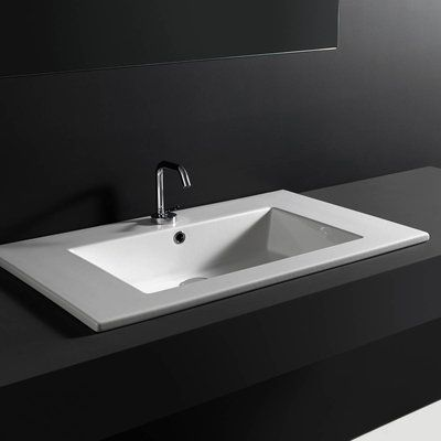 Ws Bath Collections Ceramic Rectangular Drop In Bathroom Sink With
