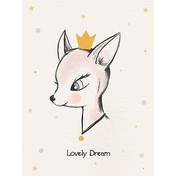 affiche illustration biche pastel deco chambre filles pinterest biche pastel et. Black Bedroom Furniture Sets. Home Design Ideas