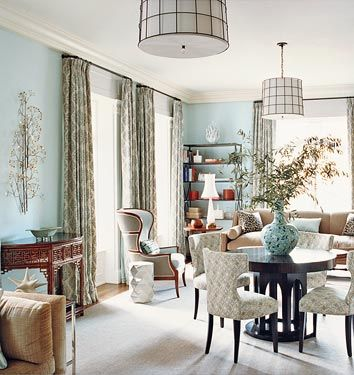 Domino magazine dining rooms farrow ball pale for Kitchen dining room wallpaper